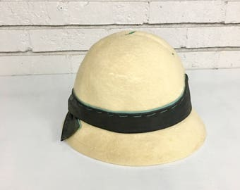 Vintage Yves Saint Laurent Felt Hat // Mid Century Modern 1960s Bowler Hat Prop Costume