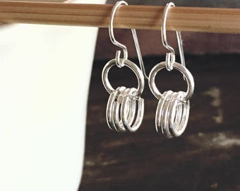 Malindi Sterling Silver Rings Dangle Earrings on Sterling Silver Ear Wires - Tribal African Ethnic Chic
