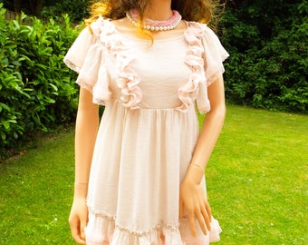 Unworn Pale beige pink lace dress Mini Dress Summer Boho dress Festival Summer Boho Wedding dress Baby doll dress Pastel lace dress UK 8