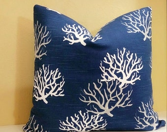 Coastal Pillow Cover -Navy blue coral Pillow cover with white and grey coral design - Coral Print Fabric Both Sides OR Solid Back - Nautical