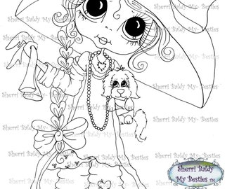 INSTANT DOWNLOAD Digital Digi Stamps Big Eye Big Head Dolls  IMG176 By Sherri Baldy