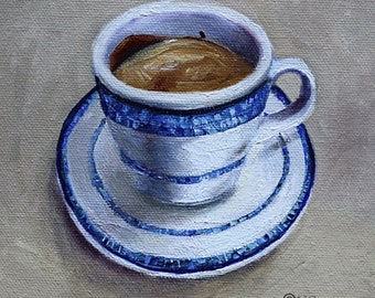 White Blue Coffee art, 6x6 original oil painting on canvas, Mexican Coffee cup
