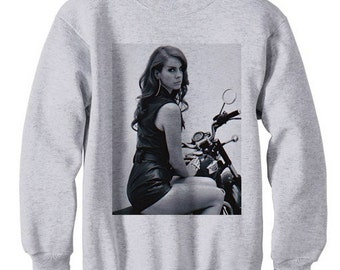Lana del rey motorcyle high by the beach honeymoon born to die ultraviolence mouth diamond - fleece sweatshirt sweater grey