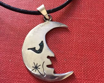 Vintage Moon Pendant , Man in the Moon, Sterling Silver Moon Pendant.