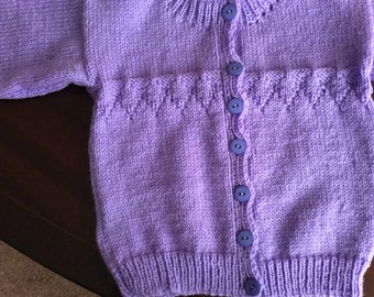 Child's cardigan, hand knitted to order, lots of colours and sizes