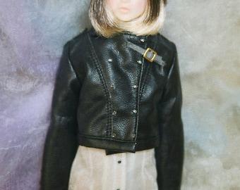 jiajiadoll- black 2 way leather jacket fits SD
