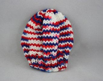 hats; preemie hats; hand knit hats; knit hats; RWB hats; USA hats; stretchy hats;