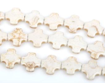15mm White Maltese Cross Howlite Stone Beads, full strand, 26 beads, how0169