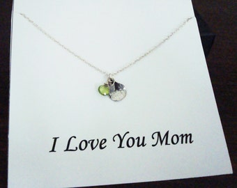 Peridot Briolette and Petal Silver Necklace ~~Personalized Jewelry Gift for Mom, Step Mom, Mother in Law, Mother of Groom, Bridal Party