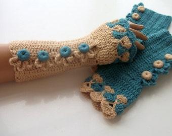 Oil Green and Camel Color Crochet Fingerless Gloves/oil-green button/Fingerless-Victorian gloves
