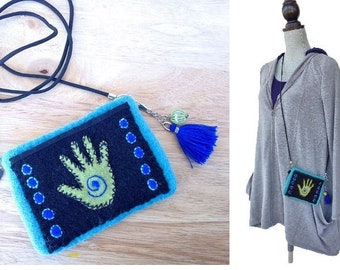 Boho Embroidered Purse - Felted Wool Crossbody Pouch with Tassel Charm