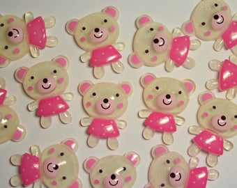 5pc - 27mm Teddy Bear Crystal Glitter Flat Back Cabochon for Scrapbooking, Embellishments, Crafts, DIY Projects, Cellphone, Hair Accessories