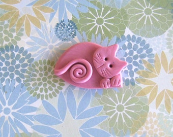 Polymer Clay Pink Cat Brooch or Magnet