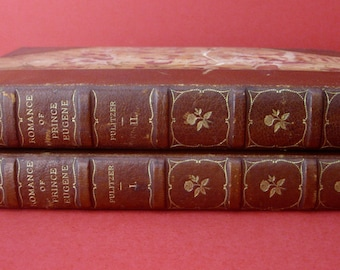 Set of (2) Leather & Deckle Edge Paper Bound Books - Romance of Prince Eugene - Vol 1 - 2 - Limited Edition