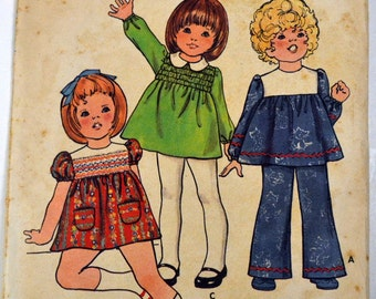 Vintage 1970's Toddlers' Dress and Pants Sewing Pattern Butterick 6427 Girls'  Size 1/2  Breast 19 inches  Complete