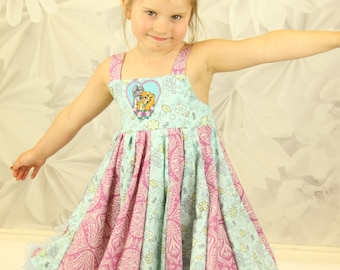 custom boutique twirl dress made with lady and the tramp patch size 2-6