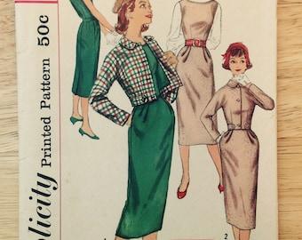 1957 Teenage side zip dress or jumper & jacket, Simplicity 2199, teen size 12, bust 32, Factory Fold, uncut Midcentury vintage sewing supply