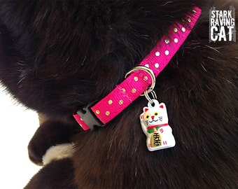 Lucky Cat Collar with Gold Dots and Neko Bell (Deluxe)