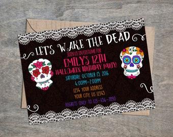 Sugar Skull Day of the Dead digital  Birthday Party Invitation   Skulls Dia de los Muertos Halloween