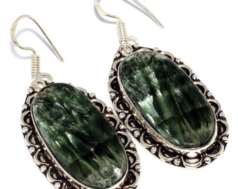 NATURAL SERAPHINITE Handmade 925 Silver Plated Earrings C 718