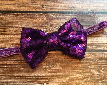Sequin Headband Glitter Headband Purple Sequin Headband Baby Headband 1st Birthday Headband Bow Headband