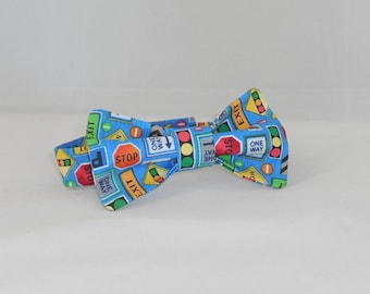 Boys' Blue Street Sign Adjustable Bowtie