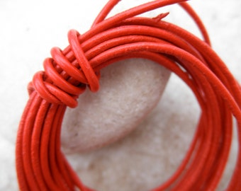By the Yard - 1mm - Leather Cord Round - Bright Red