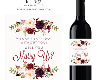 Will You Marry Us Wine Label, Wine Gift, Officiant Wine Label, Officiant Gift, Will You Marry Us Gift - (FPS0050)
