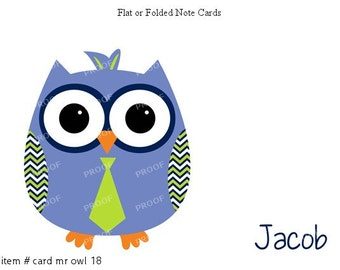 Blue Owl Green Tie Note Cards Set of 10 personalized flat or folded cards