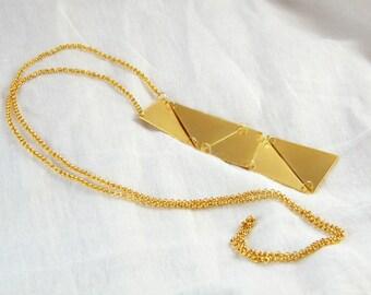 Long geometric necklace Geometric gold necklace gold rectangle pendant geometric rectangle necklace