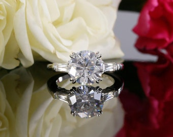 Three Stone Near Colorless Forever One Moissanite Engagement Ring in 14K White Gold (avail in yellow, rose gold and platinum)