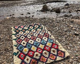 Azilal rug, Moroccan berber rug, 3.3x5.5 Ft 100x165 Cm, beni ourain rug, vintage moroccan rug, wool berber carpet, moroccan style rug