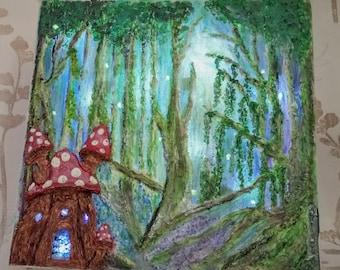 Illuminated Textured Fairy Painting - Woodland Dell