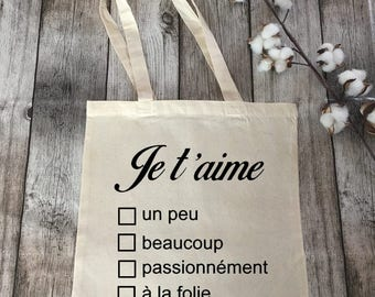 """tote bag """"I love you forever"""", very trendy, gift idea, shopping bag, Tote, personalized, love, Valentine's day"""