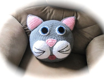 Crochet Pillow Pattern  Cat Pillow crochet kitty for nursery decor and baby beddiing