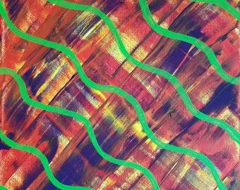 Violet, rouge, jaune et vert acrylique peinture abstraite sur toile «série 9 XXI» Wall Art, Tenture murale, moderne, contemporain