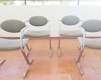 Tubular chair Set 60 years/vintage tubular chromed chairs Set