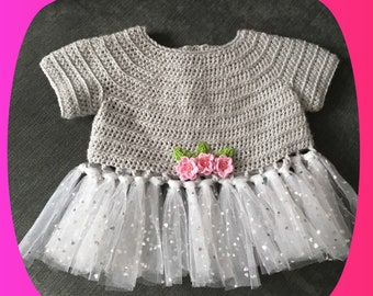 Crochet and tulle top