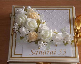 Personalized 2in1 Beautifull Birthday Gift box + Greeting card with 3D flowers and golden ribbon