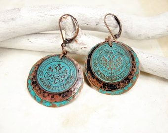 Copper Earrings with antique coins