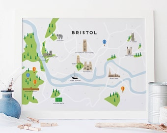 Bristol Map - Illustrated Map of Bristol Print / Travel Gifts / Gifts for Travellers / United Kingdom / Great Britain