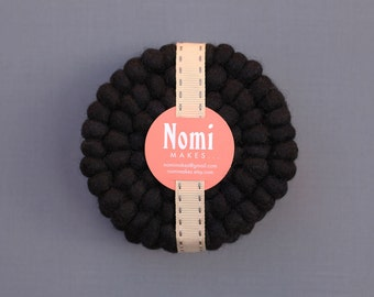Felt Ball Coasters // Black // Set of 4