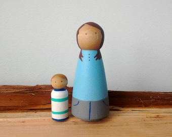 Custom Peg Doll Family, of two, Christmas Gift, Peg Doll, Custom Peg Family, Family Peg Doll, Peg Dolls, Peg People, Wooden Peg Dolls