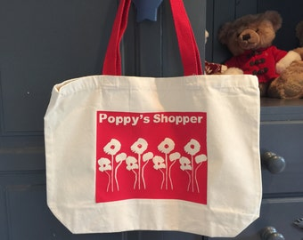 Personalised Poppy Reusable Shopper Bag - Double Sided.
