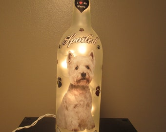 West Highland Terrier  Wine Bottle Night Light