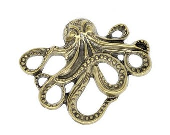 LAST SET! 1 Octopus, Octopus color connector bronze outdated 6cm - large