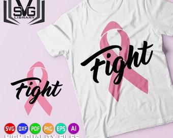 Fight SVG - Fight cancer SVG - Pink ribbon SVG - Cancer awareness svg - Breast cancer cut file - Pink power - Cancer survivor - Cricut file