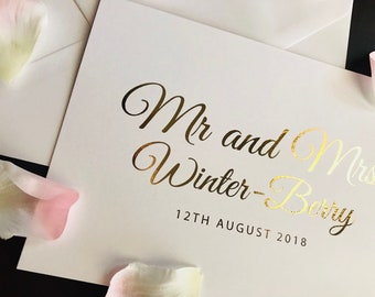 Personalised Wedding Card with Name and Date in Gold, Silver, Rose Gold or Light pink foil