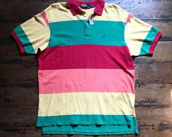 90s Polo Ralph Lauren Color Block Polo Shirt (Made in USA)
