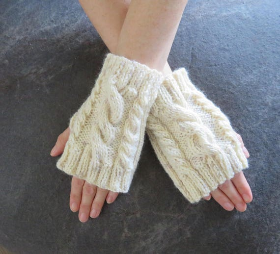 Knitting Pattern Quick Cable Knit Fingerless Gloves Knitting